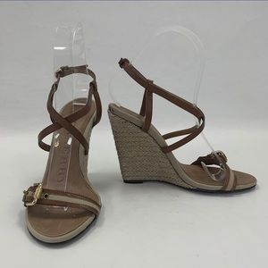 Burberry Brown Leather Wedge Sandals Authentic
